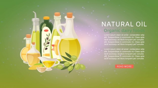 Natural organic oils with extra virgin olive oil and corn vegetable bottles with olives banner template