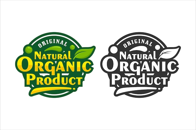 Natural organic product design premium logo