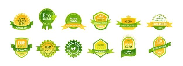 천연 유기농 제품 라벨 세트입니다. 디자인 서식 파일 에코 농장 음식, 보장된 국내 식사. 컬러 엠블럼은 축제 리본, 왕관, 별을 장식했습니다. 품질 스티커 만화 벡터