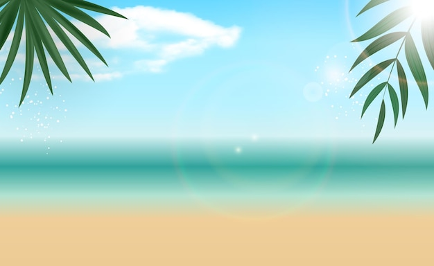 自然なヤシの夏の海の背景