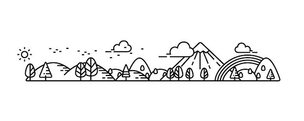 Natural park and good environment view illustration.