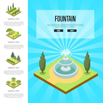 Natural parkland landscape with fountain
