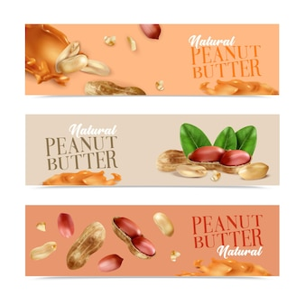 Natural peanut butter horizontal banners with peeled nuts and nuts in shell