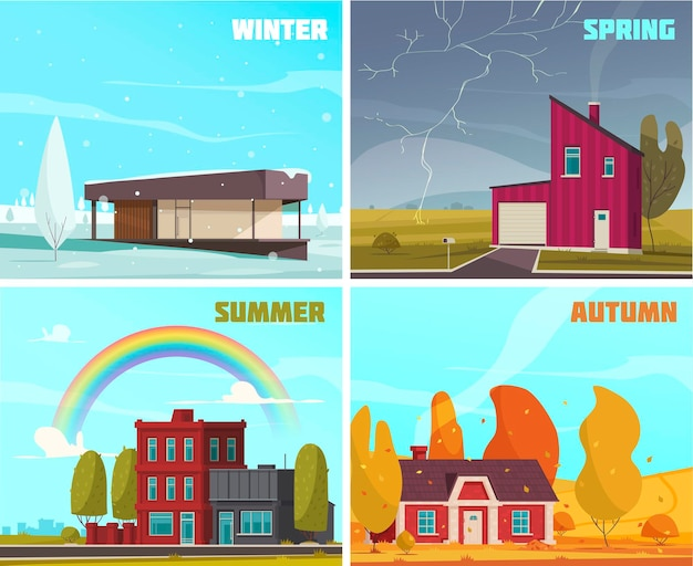Natural phenomena illustration set with summer winter spring autumn symbols flat isolated
