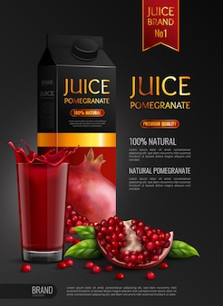 Натуральный гранатовый сок рекламного реалистичного состава черного цвета с пакетами семян и полным стаканом