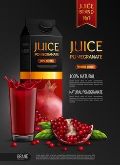 Succo di melograno naturale pubblicità realistica composizione nera con semi confezione e bicchiere pieno