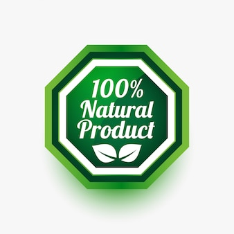 Natural product green label or sticker