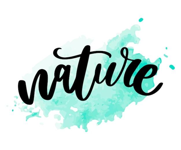 Натуральный продукт наклейка - рукописные современной каллиграфии на гранж зеленой мазки. экологически чистые наклейки, баннеры, открытки, реклама. экология природы.