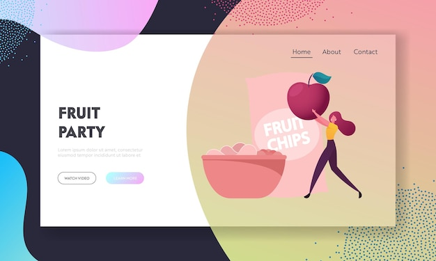 Natural production landing page template. healthy vegan and vegetarian nutrition, organic food harvesting