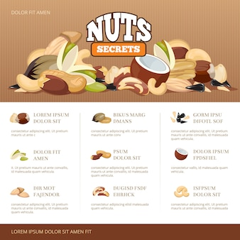 Natural raw nuts mix brochure template