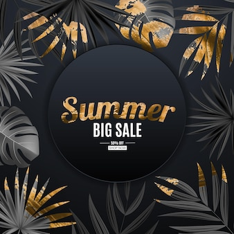 Natural realistic black and gold palm leaf tropical background. summer sale concept.