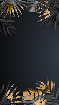 Natural realistic black and gold palm leaf tropical background.