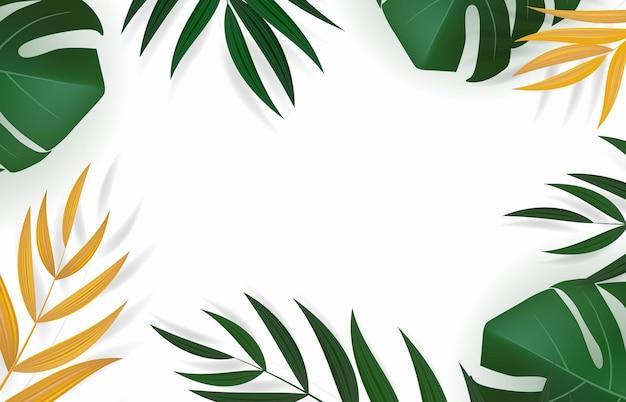 自然な現実的な緑と金のヤシの葉の熱帯の背景。