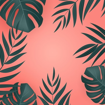 自然な現実的な緑とピンクのヤシの葉の熱帯の背景。