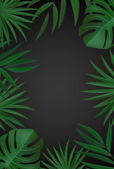 Natural realistic green and gold palm leaf tropical background