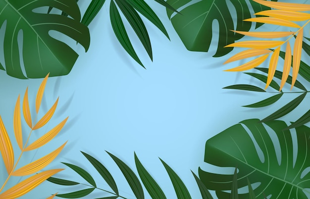 Natural realistic green palm leaf tropical background.