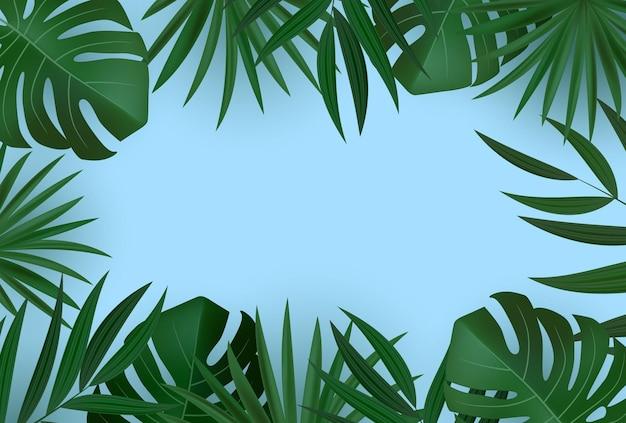 自然な現実的な緑のヤシの葉の熱帯の背景。