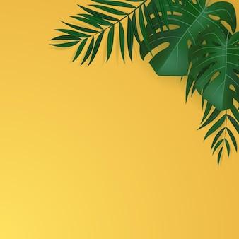 자연의 현실적인 그린 팜 리프 열대