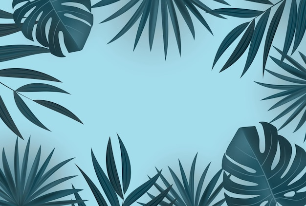 Natural realistic palm leaf tropical background.