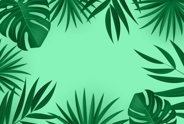 自然な現実的なヤシの葉の熱帯の背景。