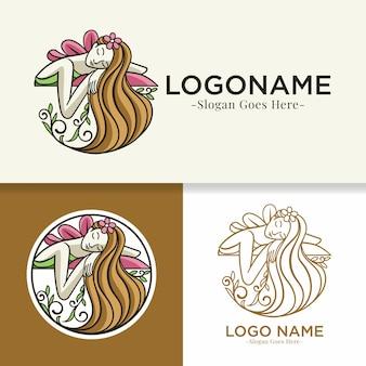 Шаблон логотипа естественной расслабляющей женщины