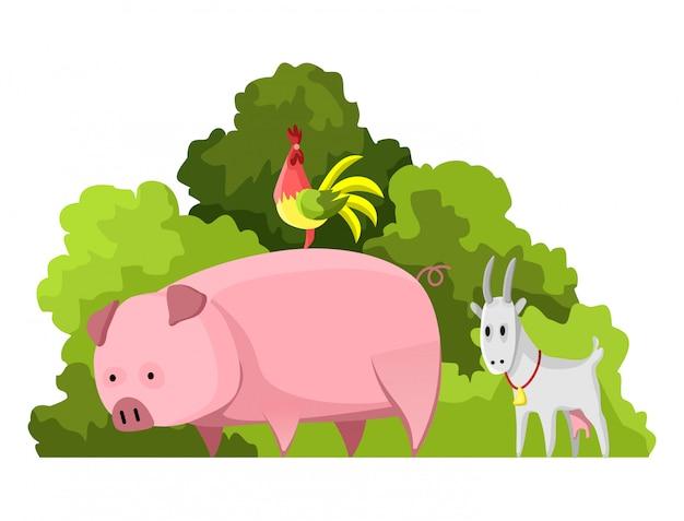 천연 자원 설계. 국가 보물 애완 동물 동물의 벡터 일러스트 레이 션. 농업 산업의 삽화