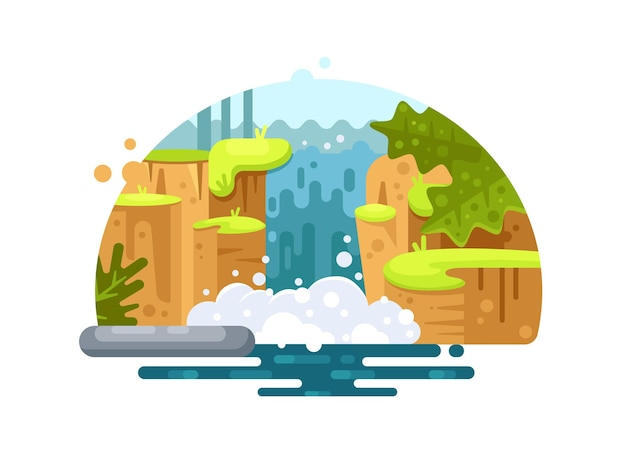 Natural river waterfall. stormy falling stream of water. vector illustration