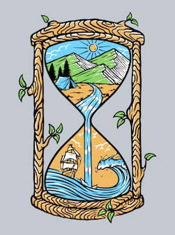 Natural scenery on an old hourglass illustration