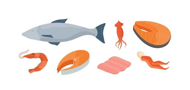 Набор иллюстраций натуральных морепродуктов. целая рыба, кальмары и креветки. вкусные продукты рыбного рынка, элементы дизайна меню ресторана морской кухни. крабовые ножки, кусочки рыбы и филе лосося.