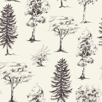 Natural seamless pattern of monochrome trees