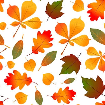 Natural seamless pattern with autumn fallen leaves.