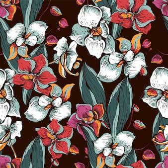 咲く蘭と自然のシームレスパターン