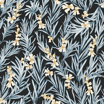 Natural seamless pattern with blooming rosemary plant hand drawn on black background.