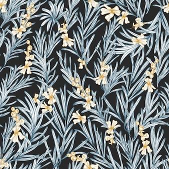 黒の背景に手描きのローズマリー植物が咲く自然なシームレスパターン。