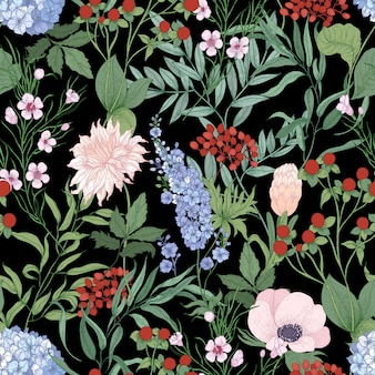 Natural seamless pattern with blooming wildflowers on black background