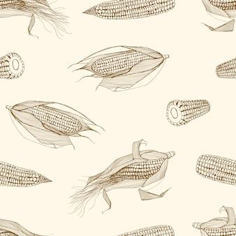 明るい背景に輪郭線で描かれたスイートコーンの手の穂軸を持つ自然なシームレスパターン。トウモロコシの穂軸と白黒の背景。テキスタイルプリントのイラスト。包装紙、壁紙