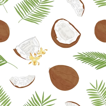 Natural seamless pattern with exotic fresh coconuts, blooming flowers and palm tree foliage hand drawn on white background