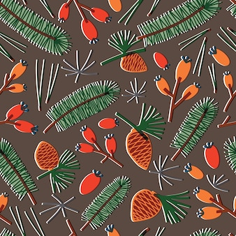 Natural seamless pattern with fir needles, branches of coniferous tree, pine cones and berries on dark background