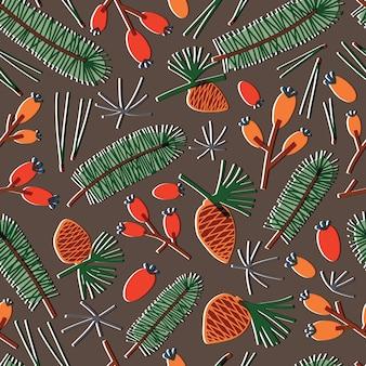 モミの針、針葉樹の枝、松ぼっくり、暗い背景の上の果実と自然なシームレスパターン