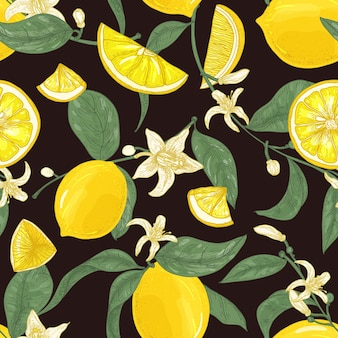 Natural seamless pattern with fresh juicy lemons, whole and cut into pieces, branches with blooming flowers