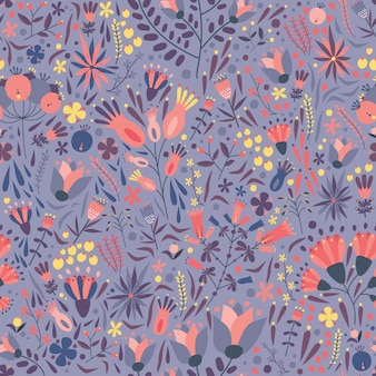 Natural seamless pattern with gorgeous blooming meadow flowers on purple background.