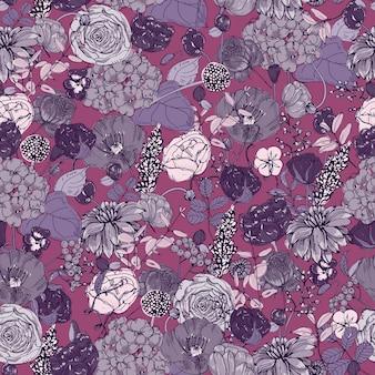 ゴージャスな夏の庭の花と自然なシームレスパターン
