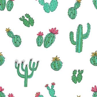 手で自然なシームレスパターンが白に緑のサボテンを描画