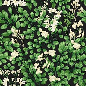 미라클 트리 또는 모링가 올레이페라 잎과 꽃이 피는 자연스럽고 매끄러운 패턴입니다. 열대 이국적인 식물의 잎과 꽃이 핌이 있는 식물 배경. 현실적인 벡터 일러스트 레이 션.