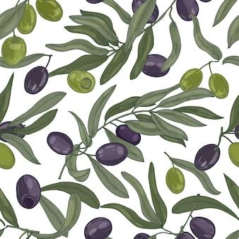 オリーブの木の枝、葉、黒と緑の熟した果物または白い背景の上の核果と自然なシームレスパターン。ファブリックプリント、包装紙のリアルな手描きのベクトルイラスト。