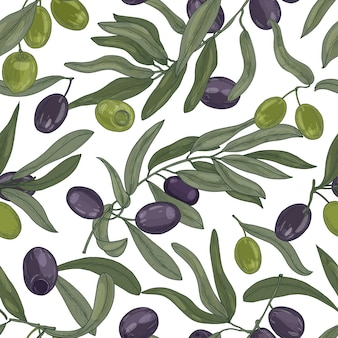 Natural seamless pattern with olive tree branches, leaves, black and green ripe fruits or drupes on white background. realistic hand drawn vector illustration for fabric print, wrapping paper.