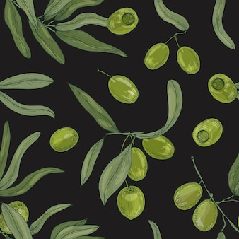Natural seamless pattern with olive tree branches, leaves, green organic raw fruits or drupes on black