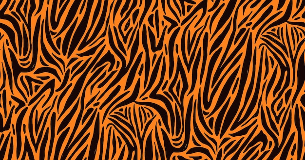 Natural seamless pattern with orange zebra or tiger coat of fur texture. bright colored animal backdrop with stripes.