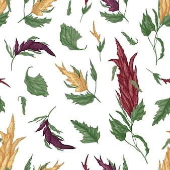 白のキノアまたはアマランサス顕花植物と自然なシームレスパターン