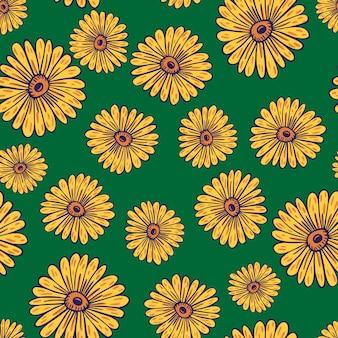 ランダムな黄色の輪郭のヒマワリの要素を持つ自然なシームレスパターン。緑の背景。季節のテキスタイルプリント、ファブリック、バナー、背景、壁紙のベクトルイラスト。